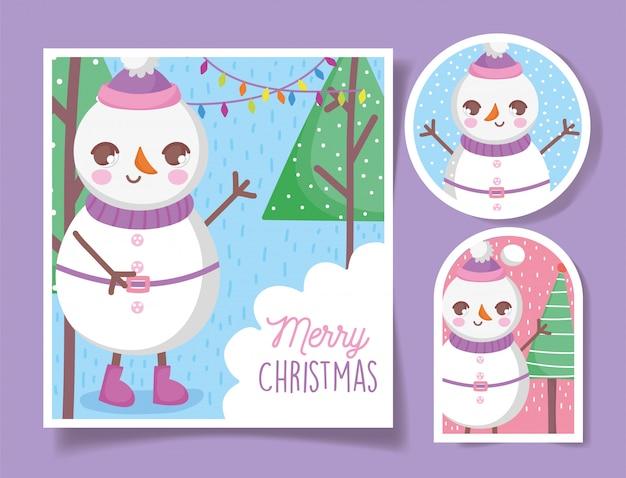 Lindo muñeco de nieve feliz navidad etiquetas y tarjeta