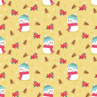 Lindo muñeco de nieve y flores rojas en patrones sin fisuras del tema de navidad