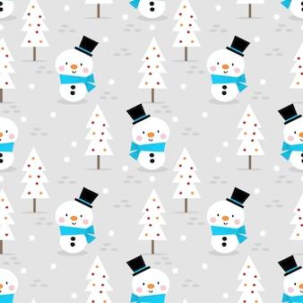 Lindo muñeco de nieve en navidad de patrones sin fisuras