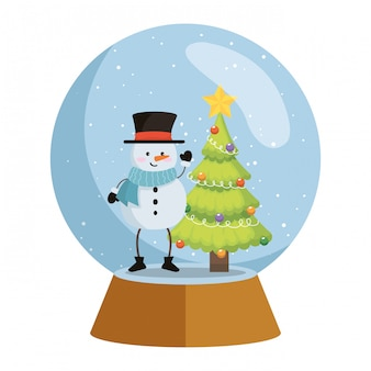 Lindo muñeco de nieve en nieve esfera navidad