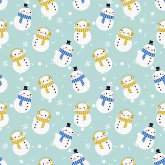 Lindo muñeco de nieve en patrón transparente de tema de invierno de navidad