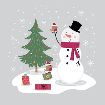 Lindo muñeco de nieve y pequeño pájaro petirrojo, tarjeta de navidad con lindo personaje,