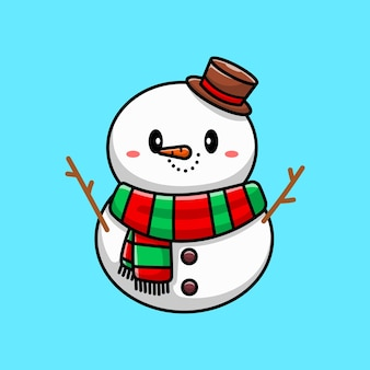 Lindo muñeco de nieve, personaje de dibujos animados
