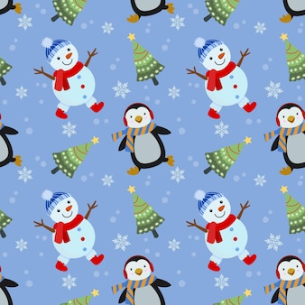Lindo muñeco de nieve, pingüino con patrón transparente de árbol de navidad.