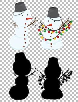 Lindo muñeco de nieve y su silueta