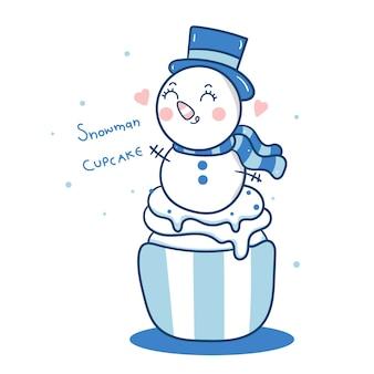 Lindo muñeco de nieve vector dibujos animados de cupcakes de navidad