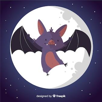 Lindo murciélago de halloween dibujado a mano