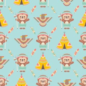 Lindo, nativo americano, perezoso, animales, caricatura, seamless, patrón