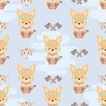 Lindo, nativo americano, zorro, animales, caricatura, seamless, patrón