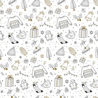 Lindo navidad doodle de patrones sin fisuras