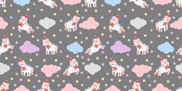 Lindo navidad invierno unicornio de patrones sin fisuras