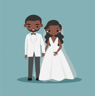 Lindo negro afroamericano pareja de novios personaje de dibujos animados