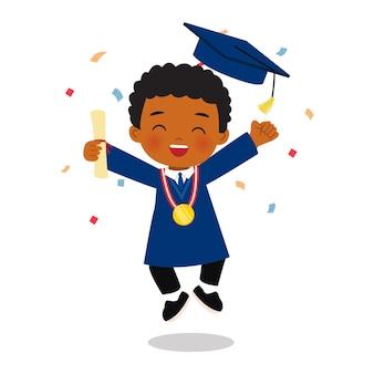 Lindo niño africano celebra la graduación con confeti diseño de dibujos animados de vector plano