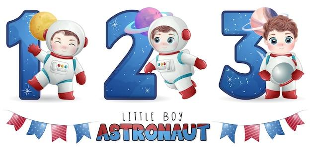 Lindo niño astronauta con conjunto de ilustración de numeración
