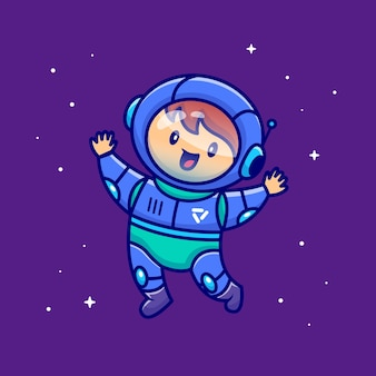 Lindo niño astronauta flotando en el espacio