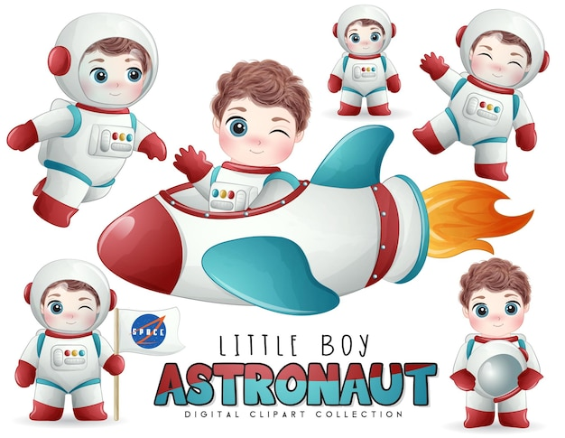 Lindo niño astronauta posa en conjunto de ilustración de estilo acuarela