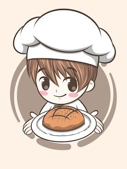 Lindo niño chef de panadería sosteniendo pan de masa fermentada - personaje de dibujos animados e ilustración de logotipo