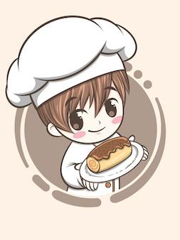 Lindo niño chef de panadería sosteniendo pastel de chocolate - personaje de dibujos animados e ilustración de logotipo