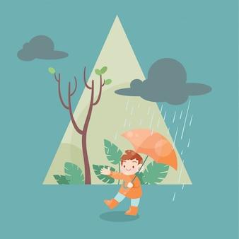Lindo niño feliz en la ilustración de vector de temporada de lluvias