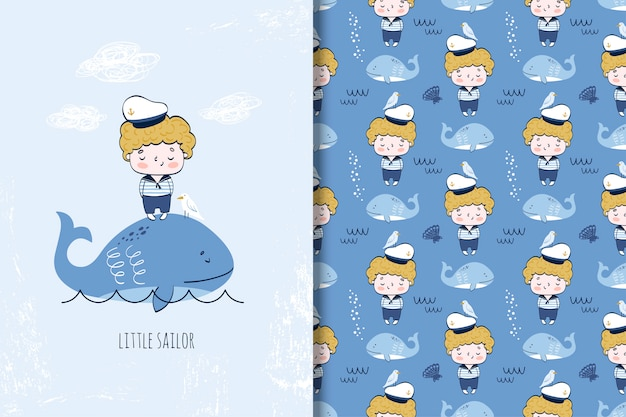 Lindo niño marinero en la ilustración de dibujos animados de ballenas y patrones sin fisuras