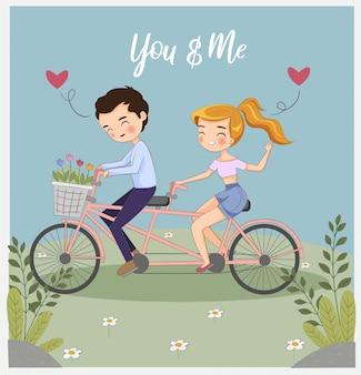 Lindo niño y niña montando bicicleta en el jardín