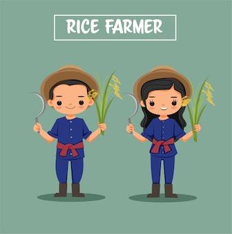 Lindo niño y niña personaje de dibujos animados de granjero de arroz