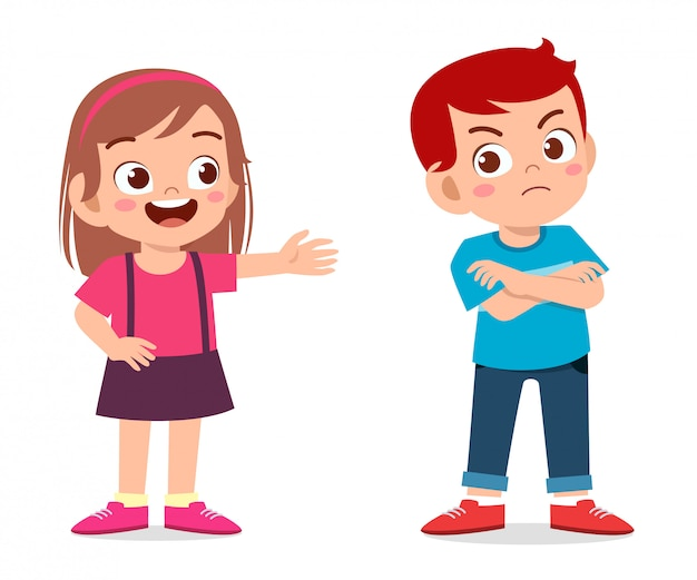 Lindo niño niño enojado con su amigo
