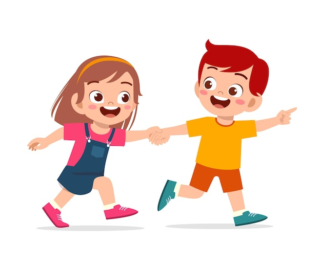 Lindo niño niño y niña tomados de la mano y caminando juntos Vector Premium