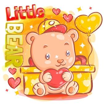 Lindo niño oso sintiéndose enamorado de la ilustración de regalo del día de san valentín