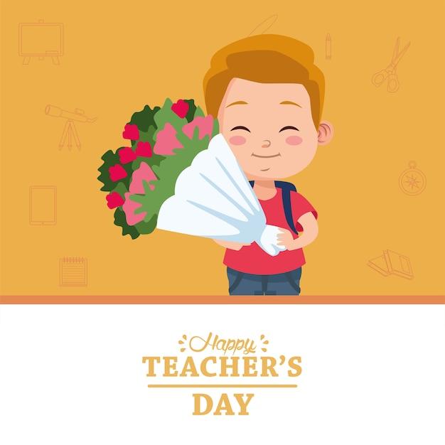 Lindo niño pequeño estudiante con ramo de flores y letras del día del maestro feliz