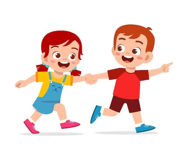 Lindo niño pequeño niño y niña tomados de la mano y caminando juntos ilustración aislada