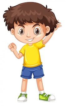 Lindo niño sonriente feliz aislado en blanco