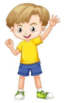 Lindo niño sonriente feliz aislado