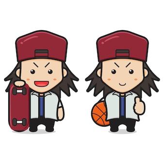 Lindo, niño, tenencia, patineta, y, baloncesto, caricatura, icono,., diseño, aislado, blanco