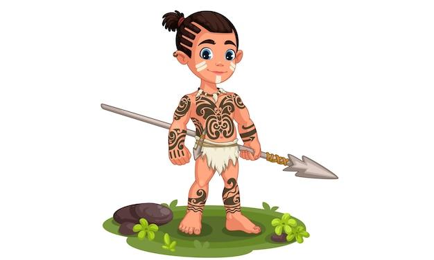 Lindo niño tribal en pose de pie sosteniendo una lanza ilustración
