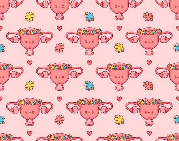 Lindo órgano de útero feliz en guirnalda de flores de patrones sin fisuras. icono de ilustración de personaje de kawaii de dibujos animados de línea plana. diseño de impresión de patrones sin fisuras de útero lindo