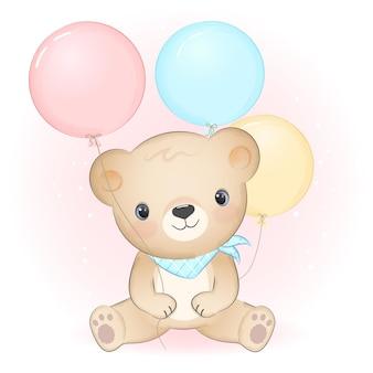 Lindo osito con globo dibujado a mano ilustración de dibujos animados de animales