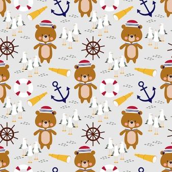 Lindo osito marinero de patrones sin fisuras.