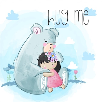 Lindo oso abraza a la niña liitle