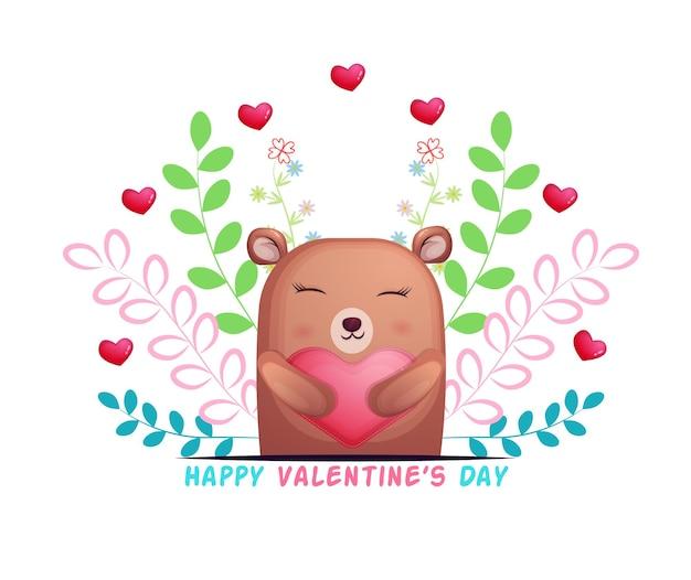 Lindo oso abrazando corazón de amor y personaje de dibujos animados floral