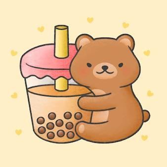 Lindo oso abrazo té con leche de burbujas