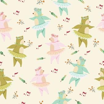 Lindo oso bailando dibujos animados de patrones sin fisuras.