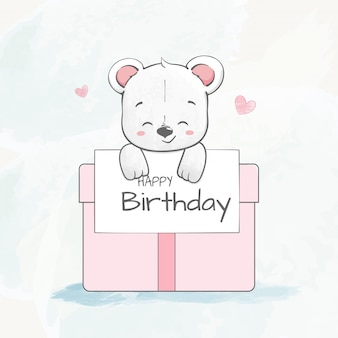 Lindo oso bebé con caja de regalo color de agua dibujado a mano de dibujos animados