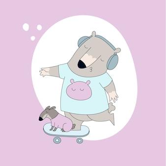 Lindo oso en camiseta con perro en patineta.