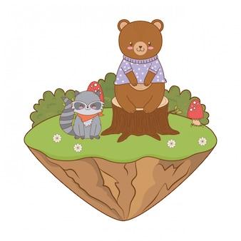 Lindo oso en el campo arbolado personaje