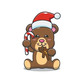 Lindo oso comiendo galletas de navidad linda ilustración de dibujos animados de navidad