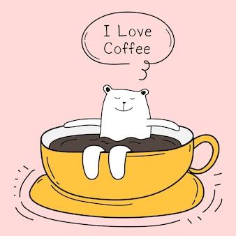 Lindo oso en la copa. amo el café.