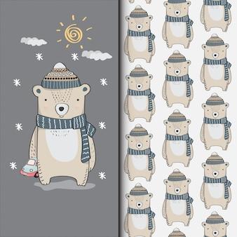 Lindo oso dibujado a mano ilustración y patrones sin fisuras