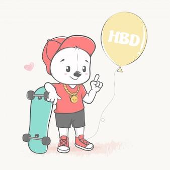 Lindo oso con dibujos animados de skate y globo dibujado a mano