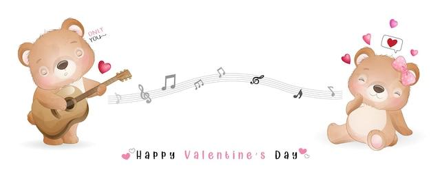 Lindo oso doodle para la colección del día de san valentín
